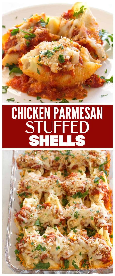 Chicken Parmesan Stuffed Shells - creamy ricotta filling with chicken topped with a crunchy Panko topping. #chicken #parmesan #stuffed #shells #dinner #recipe