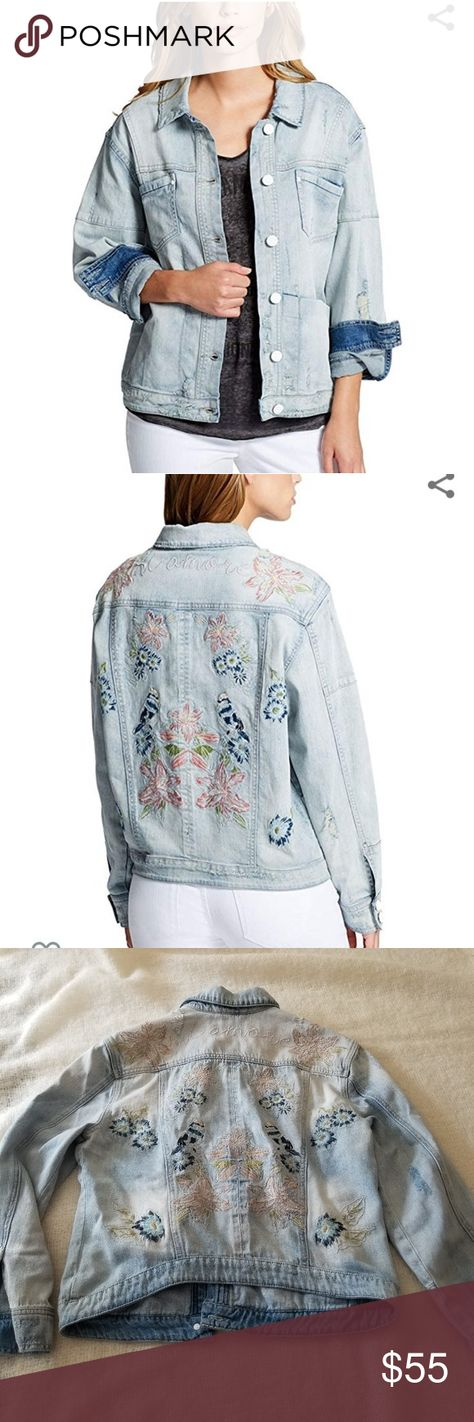 """William rast embroidered denim distressed jacket Amazing William Rast """"boyfriend"""" denim jacket with embroidery. Has distressing, embroidered flowers and birds along with the writing """"mi amore"""" on the back. Size juniors medium but because its oversized and stretchy it could easily fit up to a womens medium as well. In like new condition, measurements approximately: pit to pit 19 length 23 Trucker Jean jacket, bohemian, embroidery. William Rast Jackets & Coats Jean Jackets"""