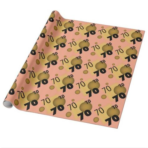 Happy 70th Birthday Giftwrap Paper Bubbles
