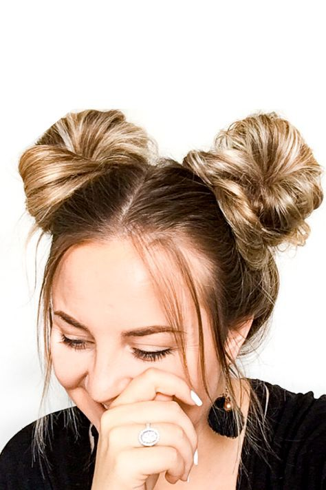 Space Buns Tutorial In Less Than 5 Minutes Space Buns Hair Cute Quick Hairstyles Bun Hairstyles For Long Hair