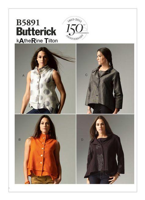 BUTTERICK B5891 MISSES/' KATHERINE TILTON WEARABLE ART TOP BLOUSE PATTERN 8-16