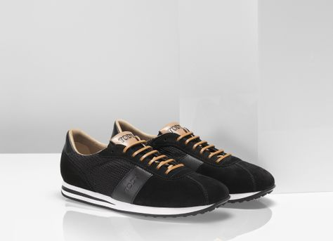 7ea0947271 Tod's black suede #sneakers with leather laces and technical fabric panels.