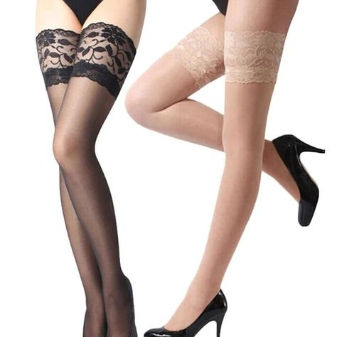 New Women Sexy Lace Top Silicone Band Stay Up Thigh High Stockingsdres – dresskily