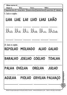 Portal Escola Baixe Em Pdf Fichas De Leitura Nh Lh E Ch Com