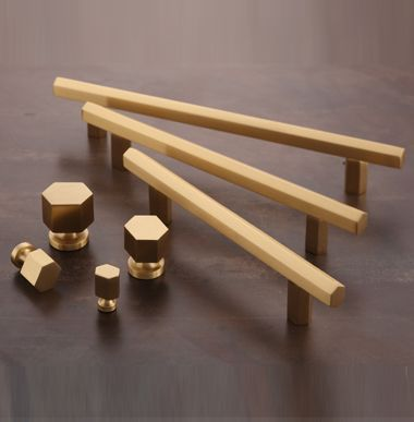 Brush Brass Handles Handles Pulls Cabinet Hardware Hexagon Myoh Hardware Cabinethardware Brasshardware Brass Handles Cabinet Hardware Brushed Brass