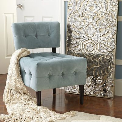 Love the way the champagne mirror looks with the soft blue chair & cream throw.  Very soft & relaxing.  Pier One. Mirrored Damask Panel - Champagne. 150.00