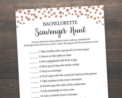 rose gold bridal shower bachelorette scavenger hunt bridal shower games bachelorette games