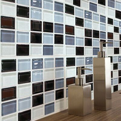 Mosaic Wall Tile Stickers Self Adhesive Anti Oil Waterproof For Kitchen Bathroom Fashion In 2020 Black Mosaic Tile Mosaic Tile Stickers
