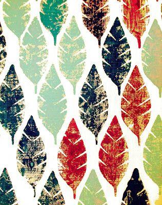 Diseño textil, estampado textil, hojas, estampado con sellos, sellos de madera.