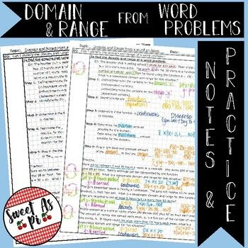Domain And Range From Word Problems Notes In 2020 Word Problems Writing Equations Words