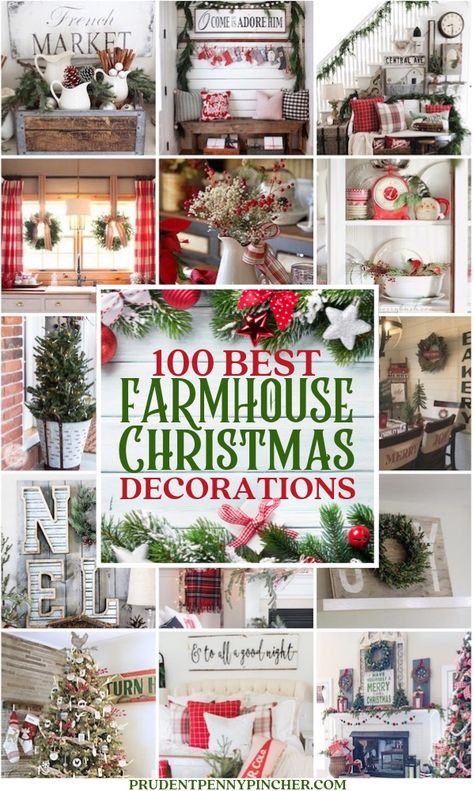 100 Best Farmhouse Christmas Decorations These cozy Farmhouse Christmas Decorations will add country charm your home. From mantel to porch decor, there are ideas for every part of your home. Blue Christmas Decor, Decoration Christmas, Christmas Porch, Farmhouse Christmas Decor, Outdoor Christmas, Country Christmas, Xmas Decorations, Christmas Holidays, Christmas Wreaths