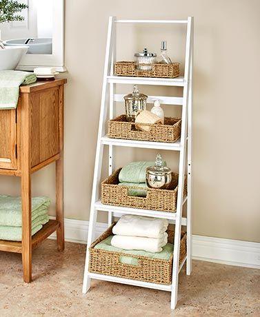 Wood Top Storage Basket Side Table Ladder Shelf Decor Ladder