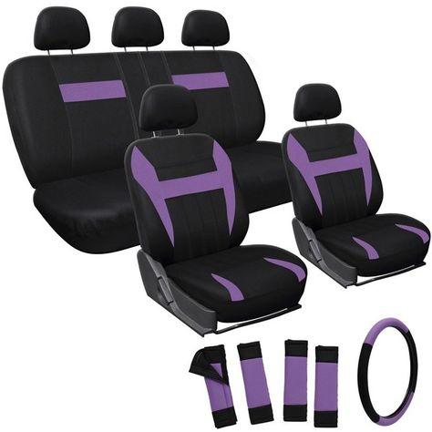 Oxgord Purple 17-piece Car Seat Cover Automotive Set ($33) ❤ liked on Polyvore featuring home, furniture, black, computer console, purple furniture, colored furniture, black console and black furniture
