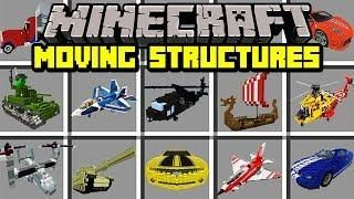 Minecraft MOVING STRUCTURES MOD! | BUILD MOVING PLANES