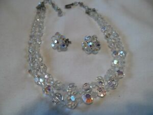 Vintage Crystal Jewelry Set 2 Clip-on Earrings and Necklace