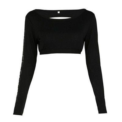 5430b1e75 Fashion Women Long Sleeve Backless Camo Sport Yoga Crop Top Blouse T ...