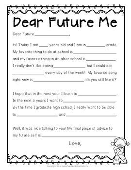photograph regarding Time Capsule Printable Worksheets known as Period Capsule Letter: Letter in direction of Long run Self: Starting or Finish