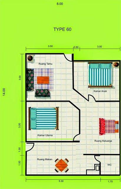 Desain Rumah Minimalis Ukuran 6x8  denah rumah minimalis type 60 di 2020 denah rumah rumah