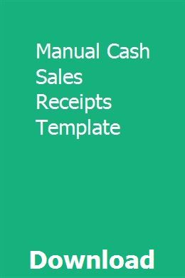 Manual Cash Sales Receipts Template Receipt Template Templates Invoice Template