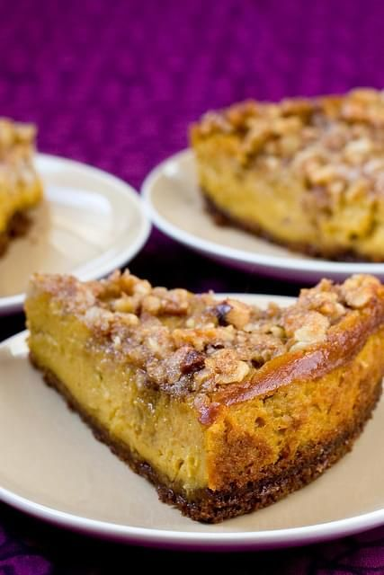 Pumpkin Cheesecake With Pecan Crunch Topping Recipe Recipe In 2020 Vegan Pumpkin Cheesecake Recipe Pumpkin Cheesecake Recipes Vegan Sweets