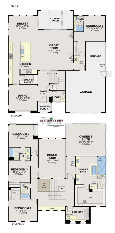 Floor Plans Whittingham At Harmony Grove Village North County New Homes House Floor Plans Floor Plans Dream House Plans