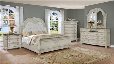 Stanley Sleigh 6 Piece Bedroom Suite In Antique White Finish By Crown Mark Cm B1630 White Bedroom Set Furniture White Bedroom Set Bedroom Vintage