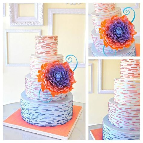 Colorful Coral Peony Tiered Cake