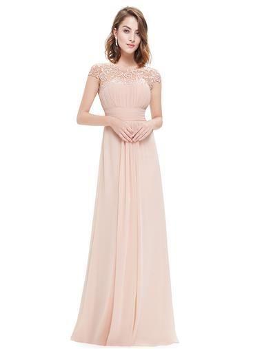 Katie Blush Pink Lace Long Bridesmaid Evening Dress Uk Belle Boutique Uk Chiffon Evening Dresses Long Bridesmaid Dresses Dresses