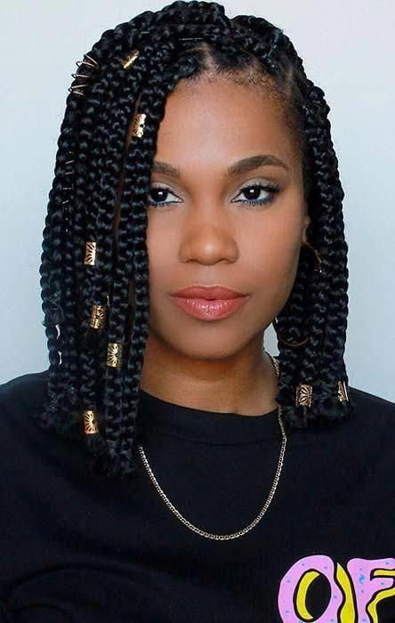 Short Box Braid Hairstyles Perfect For Warm Weather Shortboxbraids S In 2020 Short Box Braids Hairstyles Box Braids Hairstyles Box Braids Hairstyles For Black Women