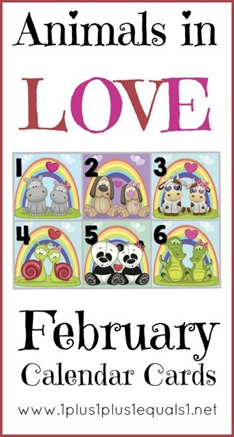 February Calendar Cards ~ Animals in Love {free}