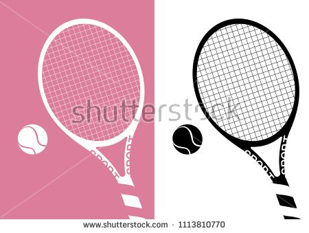 Silhouette Tennis Racket And Ball Icon On Pastel Pink Background Illustration Tennis Racket Tennis Icon