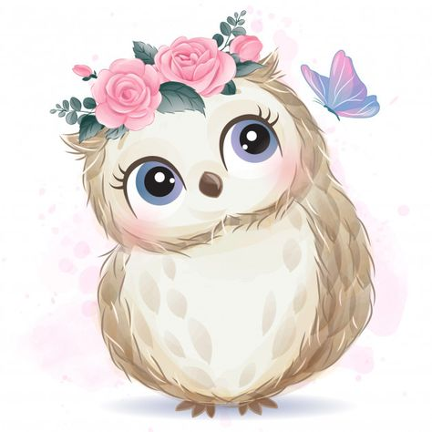 Cute little owl with watercolor effect Baby Animal Drawings, Cute Drawings, Watercolor Effects, Watercolor Art, Cute Images, Cute Pictures, Art Mignon, Cute Animal Illustration, Little Owl