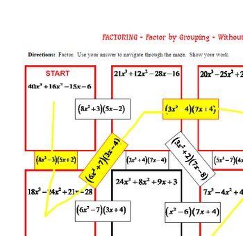 Maze Factoring Factor By Grouping No Gcf By Never Give Up On Math Teachers Pay Teachers Quadratics Math Tricks Math Teacher