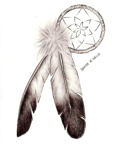 Feathers for dreamcatcher tattoo design by Denise A. Wells