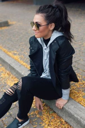 Kendall Jenner Inspiration Shop this look NOW! Ready For Anything Black Leather Jacket + Z Supply Dakota Pull Over + Up All Night Black Distressed Denim All available online NOW