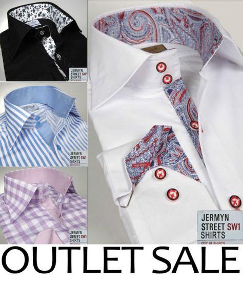 Mens Formal Casual Slim Fit Shirt Contrast Collar Cuff s M L