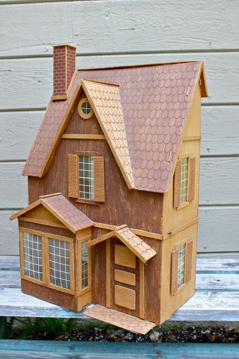 Vintage Dollhouse Wood Dollhouse Dollhouse Kit Assembled