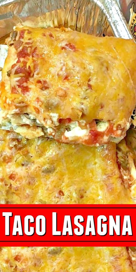 EASY Taco Lasagna - Hearty family dinner recipe with all the flavors of a classic taco baked into a lasagna! #ad   #taco #tacolasagna #tacolasagnarecipe #lasagna #lasagnarecipe #tacos #familydinnerrecipe #food #recipes