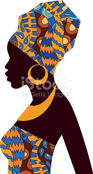 Silhouette Of African Girls In Bright Colored Turban On Her Head