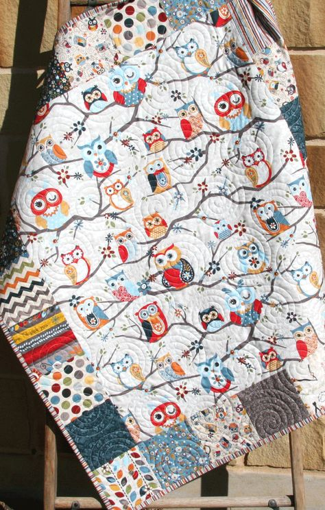 sale owl quilt boy or girl gender neutral bedding red blue Neutral Baby Quilt, Neutral Bedding, Red Bedding, Owl Blanket, Crib Blanket, Cot Blankets, Owl Quilts, Baby Boy Quilts, Nursery Crib