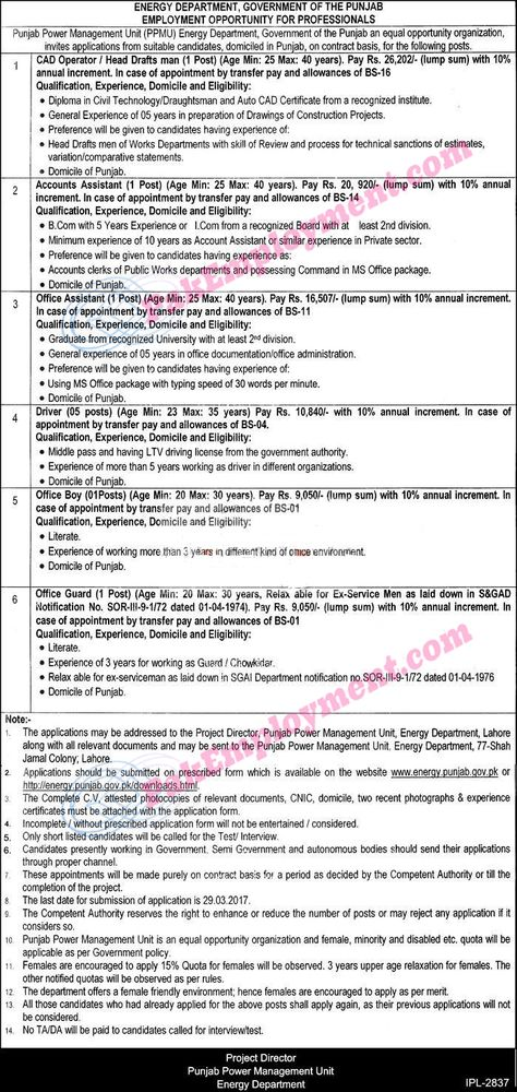 Punjab Energy Department Jobs 2017 Govt Employment Opportunities - increment form