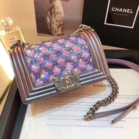 af944e4e17dc Chanel PVC/Iridescent Patent Small Boy Flap Bag Purple 2018 | Chanel ...