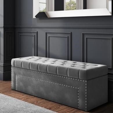 Safina Velvet Storage Blanket Box In Grey With Stud Detail Furniture123 In 2020 Hall Bench With Storage Blanket Box Storage Bench Bedroom