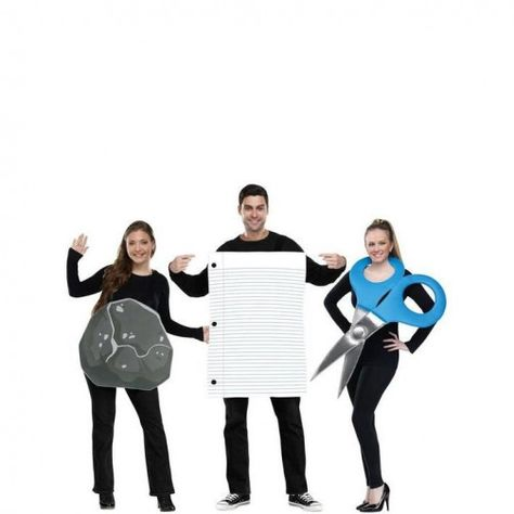 Spice up the costume competition with this Rock, Paper and Scissors costume set.