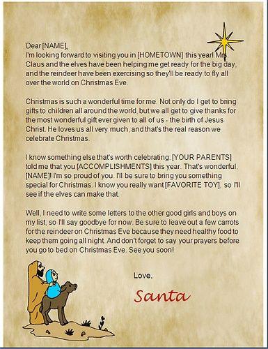 printable christian santa letters