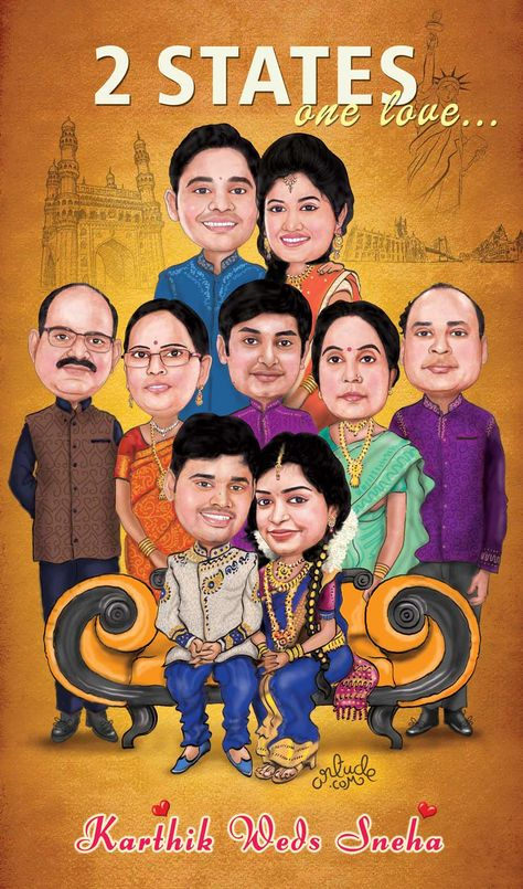 Family Caricature-Wedding Theme!