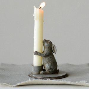 Pewter Bunny Candle Holder, Set of 2 - Hasendeko - Catworld