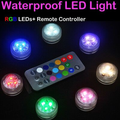 1 Rgb Led Submersible Waterproof Wedding Party Vase Base Floral Remote Light Jo Waterproof Led Lights Submersible Led Lights Led Candle Lights