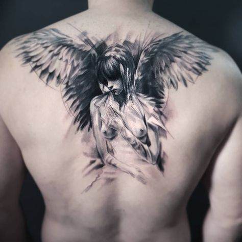 Angel tattoo by Adam Kremer