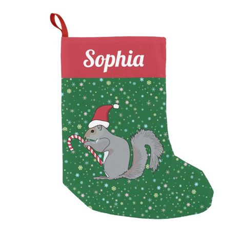 d5d7b91a0472f Personalized Squirrel with Candy Cane Santa Hat Small Christmas Stocking   stocking  christmas  sock  xmas